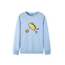 Womens Popular Cartoon Avocado Printed Long Sleeve Crew Neck Sport Sweatshirt