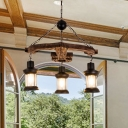 Wooden Anchor Design Chandelier Lamp Lodge Stylish 3 Bulbs Brown Hanging Ceiling Fixture with Lantern Shade