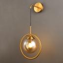 Brass Finish Orbit Wall Lamp Contemporary Single Smoke Gray/Clear/Amber Glass Sconce Light Fixture
