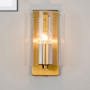 Post-Modern 1 Bulb Wall Light Sconce Brass Finish Cylindric Wall Lamp with Clear/Textured White Glass Shade