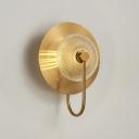 Post Modern 1-Light Wall Light Sconce Brass Bell Shape Wall Lamp Green/Clear Latice Glass
