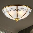 2/3/4 Lights Flushmount Lighting Vintage Domed Frosted Glass Ceiling Flush Mount in Gold for Bedroom, 14