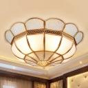 Gold Flower Flush Mount Fixture Classic Opal Glass 4 Lights Living Room Flushmount Lighting