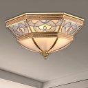 4 Lights Bedroom Ceiling Mounted Fixture Classic Brass Flush Mount Light with Faceted Curved Frosted Glass Shade
