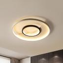 Acrylic Circular Ceiling Light Modernism Black-White LED Flush Mount Lamp, 16