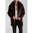 Mens Warm Plaid Printed  Long Sleeve Open Front Coffee Tunic Faux Mink Coat