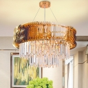 Amber Layered Chandelier Lamp Contemporary 8 Bulbs Cut Crystal Ceiling Pendant Light