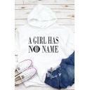 Hot Popular A GIRL HAS NO NAME Letter Print Long-Sleeved Casual Pullover Hoodie
