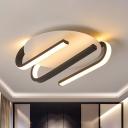 Acrylic Linear Flush Light Fixture Modern Black-White LED Ceiling Lamp in Warm/White Light