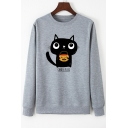 Lovely Cat CANDY PLEEZ Printed Long Sleeve Round Neck Graphic Sweatshirt