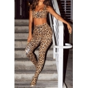 Womens Brown Classic Leopard Pattern Zip Front Croapped Tank & Skinny Pants Two Piece Set