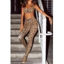 Womens Brown Classic Leopard Pattern Zip Front Croapped Tank & Skinny Pants Two Piece Set