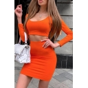 Womens Sexy Long Sleeves Scoop Neck Crop T-Shirt with Mini Skirt Plain Two Piece Set