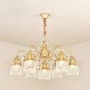 Modern Bell Shade Crystal Chandelier Lamp 7/9 Lights Hanging Light Kit in Gold for Living Room