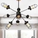 Industrial Style Sputnik Chandelier Lighting Metal 9/12/15 Lights Living Room Pendant Light with Cage Shade in Black