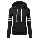 Womens Casual Fashion Contrast Striped Long Sleeve Slim Fit Loungewear Hoodie