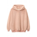 Women Streetwear Plain Long Sleeve Hooded Letter Print Leather Label Fluffy Thickened Oversize Hoodie