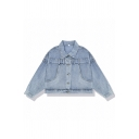 Trendy Blue Long Sleeve Lapel Collar Button Down Relaxed Fit Short Denim Jacket for Women