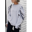 Grey Stylish Puff Sleeve Crew Neck Oversize Pullover Sweatshirt for Ladies