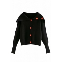 Fancy Girls' Long Sleeve Exaggerate Collar Button Down Relaxed Plain Purl Knit Cardigan