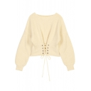 Trendy Ladies' Balloon Sleeve Boat Neck Lace Up Purl-Knit Plain Relaxed Pullover Sweater Top
