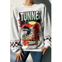 Street Fashion Girls' Balloon Sleeve Crew Neck Letter TUNNER SPORT Helmet Checker Print Relaxed Fit Pullover Sweatshirt in White