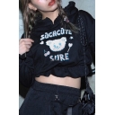 Cute Black Long Sleeve Letter SUCH CUTE SURE Bear Printed Ruffled Trim Relaxed Crop Hoodie for Girls
