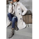 Ladies Elegant Turn Down Collar Double Breasted Pockets Side Thick Fur Relaxed Midi Wool Coat in White