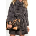 Women's Long Sleeve High Neck Bow Tie Waist Faux Fur Midi Loose Coat in Dark Grey