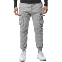 Mens Simple Drawstring Elastic Waist Solid Color Side Flap Pocket Casual Pants Cargo Pants