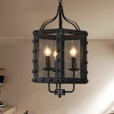 Iron Faceted Frame Ceiling Chandelier Vintage Style 3 Lights Black Hanging Lamp Kit