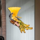 Lodge Style Scalloped Wall Light 1 Head Yellow Glass Wall Sconce Fixture with Peacock Design for Bedroom, Left/Right