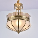 Gold 5/7 Heads Chandelier Light Colonialism Opal Glass Scalloped Suspended Lighting Fixture