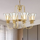 Metal Gold Pendant Chandelier Starburst 8 Bulbs Colonization Hanging Light Kit with Frosted White Glass Shade