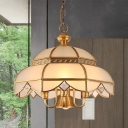 Colonial Dome Chandelier Lighting Fixture 5 Heads White Glass Pendant Ceiling Light in Brass