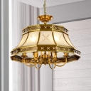 Frosted Glass Brass Chandelier Flared 4 Lights Colonialism Down Lighting Pendant for Dining Room