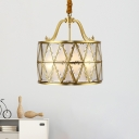 4/6 Bulbs Drum Pendant Light Traditional Gold Frosted Glass Chandelier Lamp for Dining Table, 16