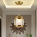 Lantern Opaline Glass Suspension Light Traditional 1 Bulb Hallway Pendant Lamp in Brass