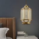 Brass Single Light Down Lighting Traditional Opaque Glass Lantern Pendant Ceiling Light