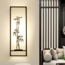 2 Lights Fabric Wall Sconce Traditionalist White Rectangle Living Room Wall Mounted Light