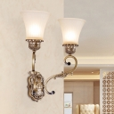 Curvy Arm Metal Wall Mount Lighting Traditional 2 Lights Indoor Wall Sconce Lamp in Brass with Bell White Glass Shade