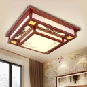 Red LED Flush Mount Light Traditional Wooden Square Ceiling Fixture with Acrylic Shade for Living Room