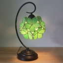 1 Head Table Lamp Tiffany Clover Stained Glass Task Lighting in Light Green/Clear/Pink for Bedroom