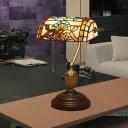 Stained Glass Brass Piano Desk Lamp Victorian/Mediterranean/Baroque Pattern 1 Light Vintage Standing Light