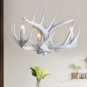 Resin Deer Antler Ceiling Chandelier Traditional 3/4/5 Bulbs Hanging Pendant Light in White