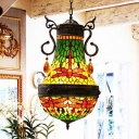 6 Lights Ceiling Chandelier Tiffany Dragonfly/Flower Stained Glass Pendant Lighting Fixture in Red/Green