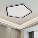 Pentagon Acrylic Flush Mount Lamp Simple Style Black 15