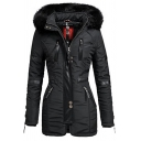 Casual Black Long Sleeve Hooded Zip Decoration Pockets Side Leather Patched Sherpa Trim Midi Fitted Puffer Coat for Women