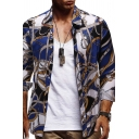 Retro Color Block Chain Pattern Long Sleeve Button Down Loose Fit Baroque Shirt for Men