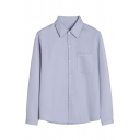 Grey Formal Long Sleeve Lapel Collar Button Front Pocket Patched Relaxed Shirt for Female